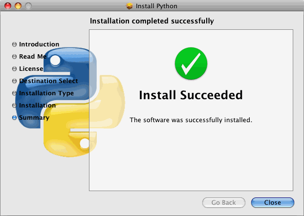 [Python installer: install succeeded]