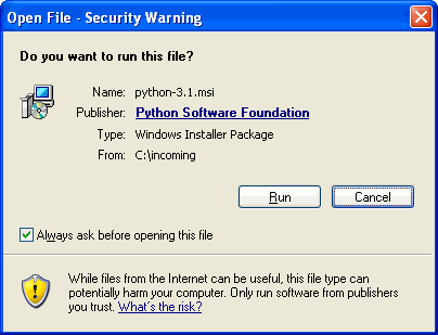 [Windows ダイアログ: open file security warning]